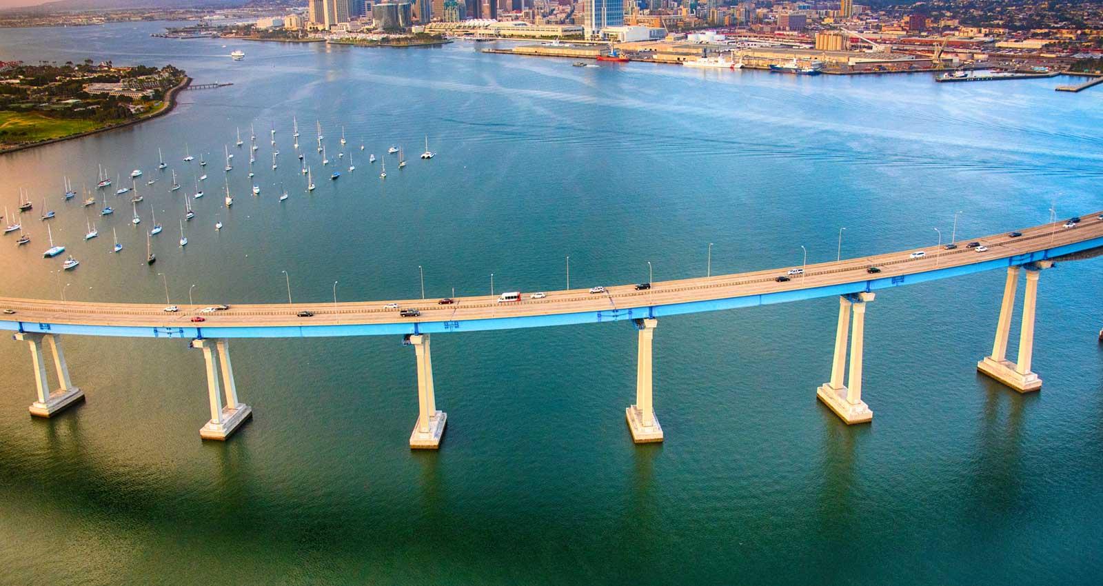 aerial view of San Diego, CA bridge