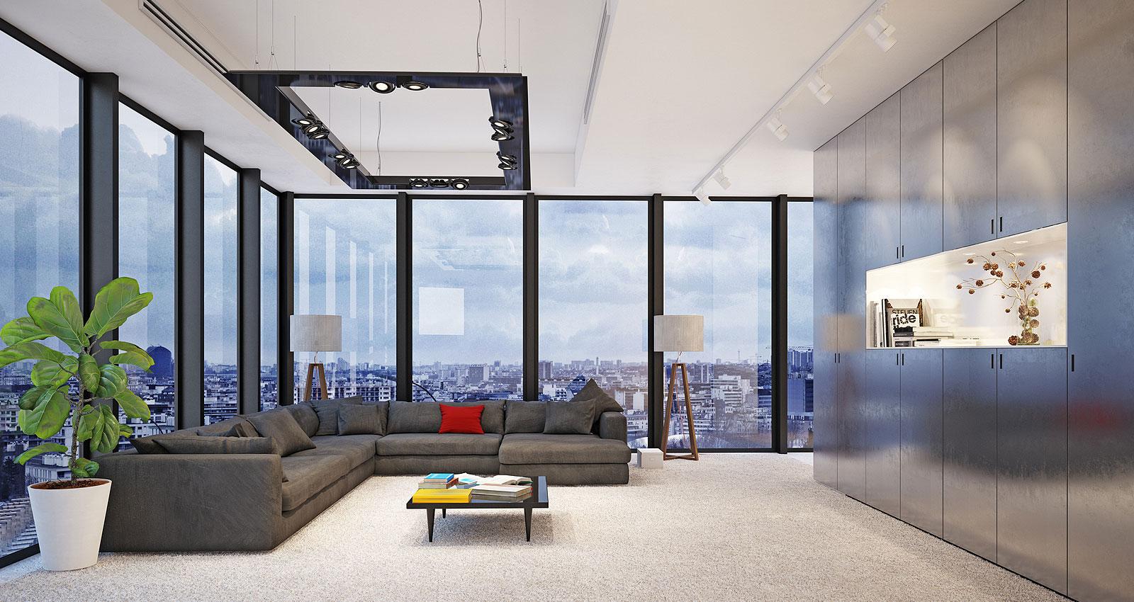 minimalist living room in a condo unit in San Diego, CA